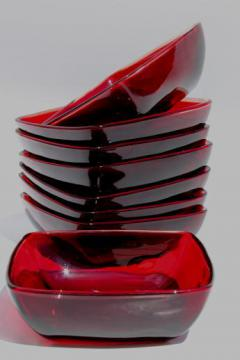 Royal ruby red glass vintage Anchor Hocking Charm square glass bowls set of 8
