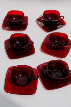 Royal ruby red glass vintage Anchor Hocking Charm square glass cups & saucers