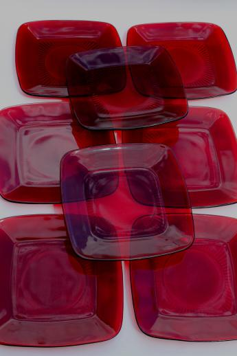 Royal Ruby Red Glass Vintage Anchor Hocking Charm Square