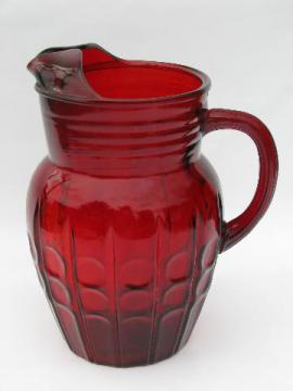 Royal ruby red pattern glass pitcher, vintage Anchor Hocking