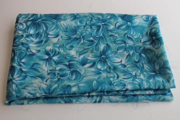 Saki Japan silky polyester fabric, vintage sample length w/ aqua floral print