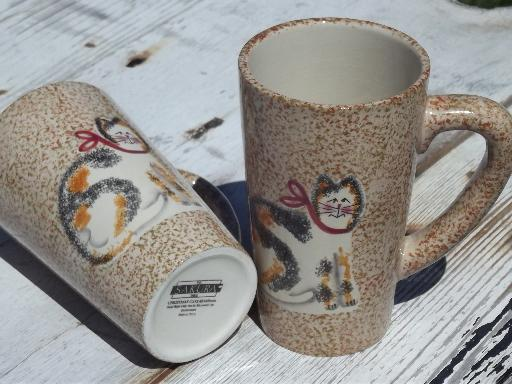 Sakura Fiddlestix cat spongeware tall coffee mugs, cups w/ Christmas Cats