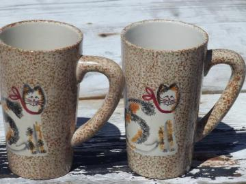 Sakura Fiddlestix cat spongeware tall coffee mugs, cups w/ Christmas Cats
