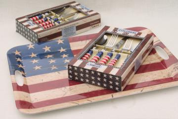 Sakura Patriotic American flag serving tray & flatware set, new in box silverware