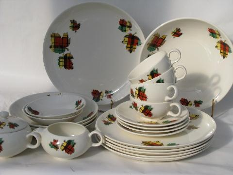 & Salem Tartan plaid leaves vintage 1950s dinnerware lot
