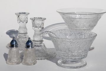 Sandwich pattern pressed glass Duncan & Miller crystal clear candlesticks, serving pieces