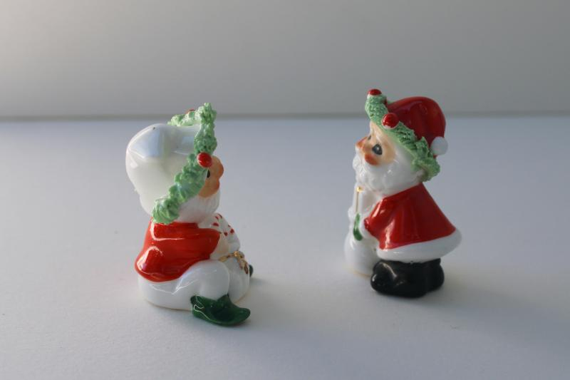 Santa Claus & Christmas elf, spaghetti china figurines miniatures, made in Japan?