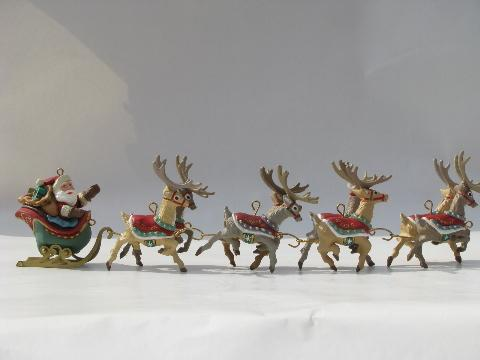 santa and eight tiny reindeer five part hallmark christmas ornament - Hallmark Christmas Decorations