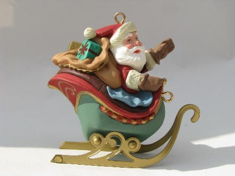 Santa and eight tiny reindeer, five part Hallmark Christmas ornament