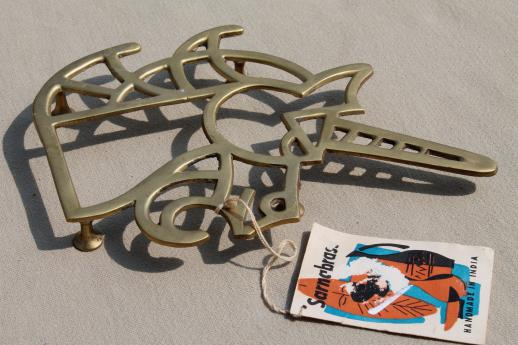 Sarna brass unicorn trivet w/ 50s vintage Sarnabrass India hang tag