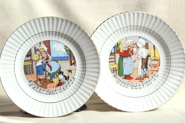 Sarreguemines et Digoin France pottery plates vintage children\u0027s dishes w/ French nursery rhymes lyrics & Sarreguemines et Digoin France pottery plates vintage children\u0027s ...