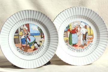 Sarreguemines et Digoin France pottery plates, vintage children's dishes w/ French nursery rhymes lyrics