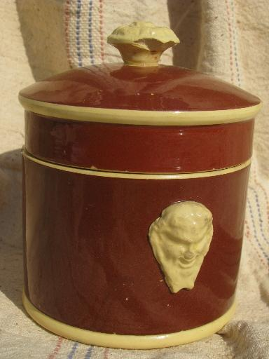 Sarreguemines french majolica pottery, old yellow / mocha lidded jar w/ face handles