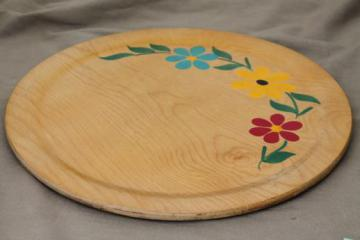 Scandinavian mod vintage serving tray, round wood tray w/ painted daisies