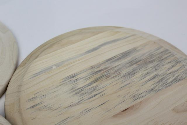 Scandinavian modern style blond wood plates or trays, handcrafted natural raw wood
