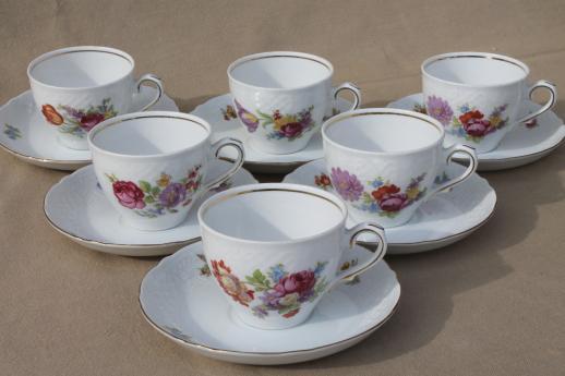 Schumann Bavaria Dresden Floral Teacups Amp Saucers