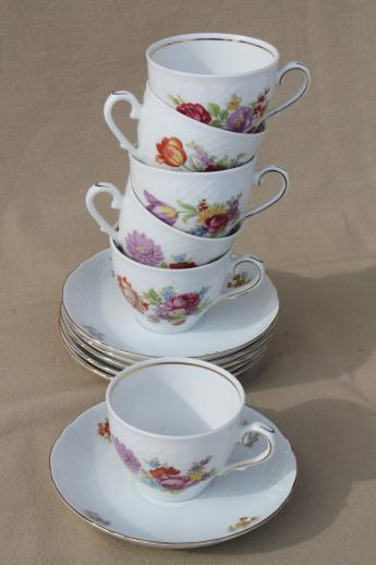 Schumann Bavaria Dresden floral teacups & saucers, embossed white china w/ flowers