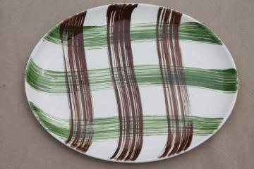 Scottish heather plaid hand-painted tartan ware ceramic platter, vintage Stetson china