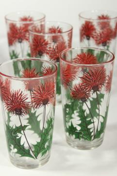 Scottish thistle print glass drinking glasses, mid-century vintage swanky swigs