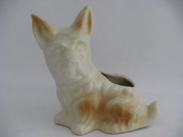Scotty terrier dog pottery planter, 1940s vintage figural flower pot