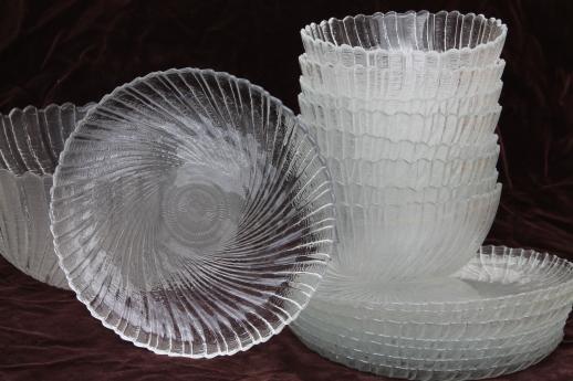 Seabreeze Arcoroc glass salad plates & salad bowl set, clear