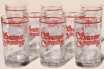 Season's Greetings holiday drinking glasses, retro Christmas snowflakes white & red