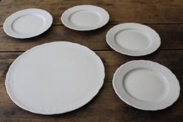 Seltmann Weiden Bavaria Julia embossed white china dessert plates & cake tray set