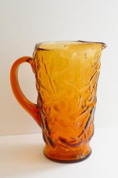 Seneca Driftwood amber glass pitcher, mod vintage crinkled & wrinkled textured glass