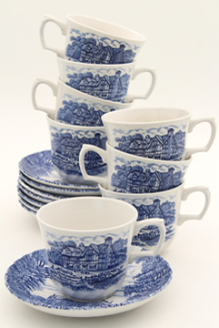 Shakespeare's Country vintage blue & white English transferware china tea cups & saucers