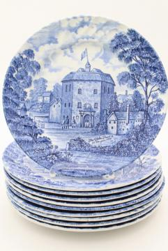 Shakespeare's Country vintage blue & white English transferware plates, Globe theater