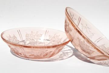 Sharon / cabbage rose pattern pink glass serving bowls, vintage reproductions