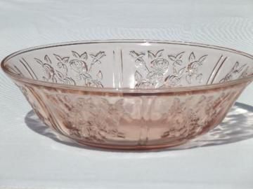 Sharon cabbage rose pattern vintage pink depression glass salad bowl