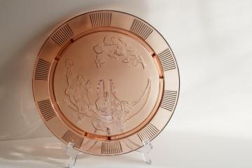 Sharon rose pattern pink depression glass cake plate footed plateau, vintage Federal glass