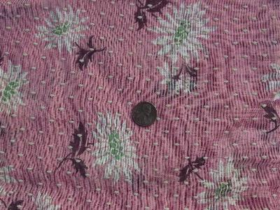Sheer dotted swiss cotton, floral on pink