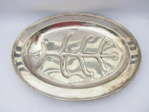 Sheffield plate vintage silver over brass, two huge roast game or turkey platters