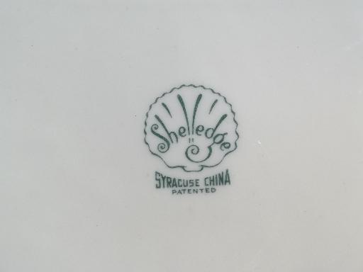 Shelledge vintage Syracuse china chop plate, shell edge white floral