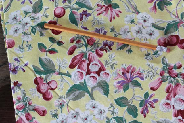 Sheridan vintage cotton print curtains, cherries cherry blossom foxgloves floral valance panels
