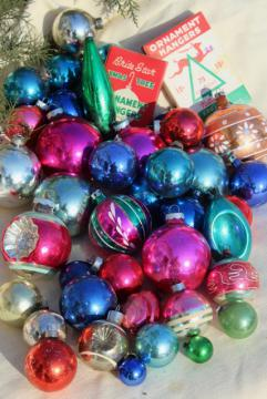 Shiny Brite vintage glass baubles, Christmas tree ornament lot balls & fancy shapes