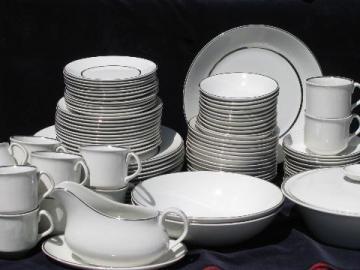 Silver Elegance wedding band English white ironstone china, set for 12