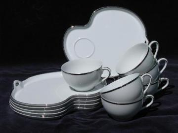 Silverdale vintage Noritake china snack sets for 6, tray plates & cups