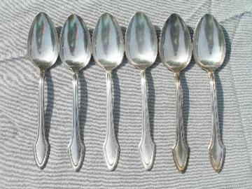 Six mission style silver teaspoons