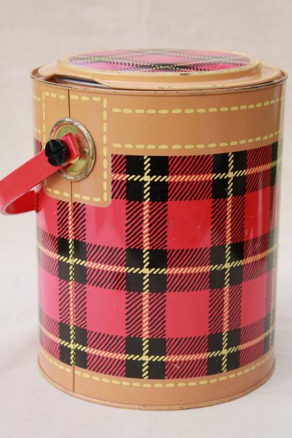 Skotch Kaddy 1950s Vintage Cooler Red Tartan Plaid Picnic