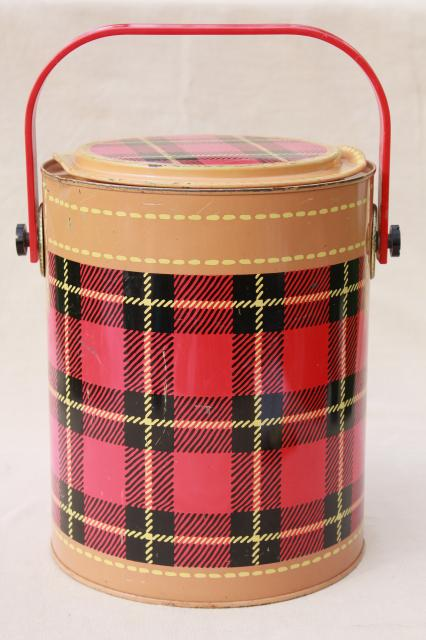 Skotch Kaddy 1950s vintage cooler, red tartan plaid picnic jug insulated thermos