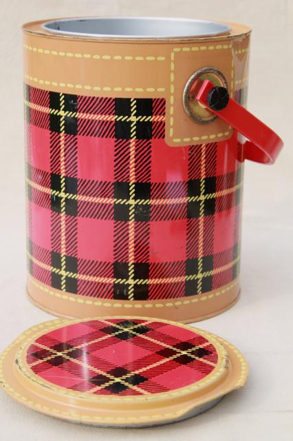 Skotch Kaddy 1950s Vintage Cooler Red Tartan Plaid Picnic