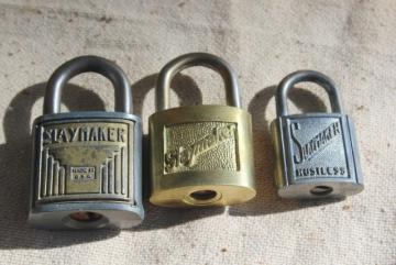 Slaymaker vintage locks collection, brass & steel padlocks locked without keys