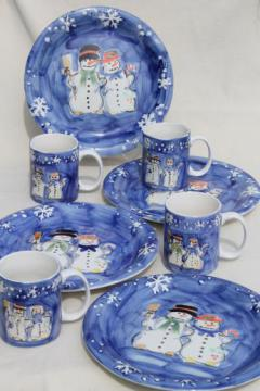 Snow Couple Tabletops Unlimited snowman winter holiday dishes, plates & cocoa mugs
