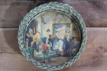 Snow White & the Seven Dwarfs picture print under glass, wicker tray vintage Germany
