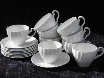 Snowhite Regency, vintage Johnson Brothers white swirl ironstone china, cups & saucers