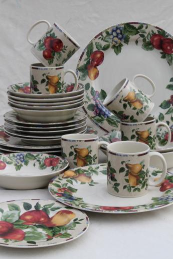 & Sonoma fruit Sakura Oneida stoneware dinnerware set for 6 with serveware