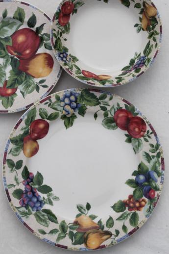 & Sonoma fruit Sakura Oneida stoneware dinnerware set for 6 with serveware